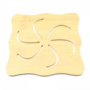Suport pentru oala, din bambus, cu aplicatii antialunecare, 14 x 14 cm