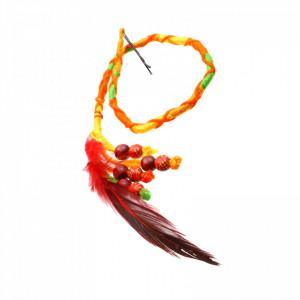 Suvite colorate impletite cu pana rosie si margele, 42 cm