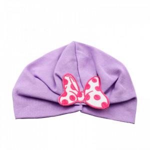 Turban pentru fetite, cu fundita, +12 luni, Lila