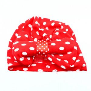 Turban pentru fetite, cu fundita, Rosu cu buline