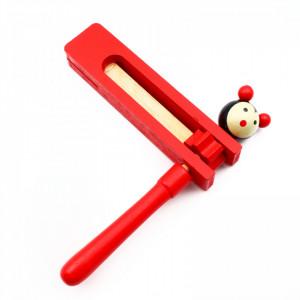 Zornaitoare din lemn, Fericitul zgomotos, Rosu, 16.5 cm
