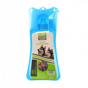 Adapatoare animale portabila, bol plastic, sistem antivarsare, Albastru, 500ml