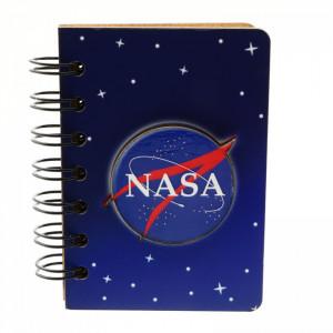 Agenda cu spirala, din lemn, NASA, 10 x 7 cm