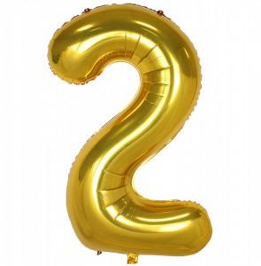 Balon din folie metalizata, 80 cm, cifra 2, Auriu