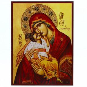 Icoana Maica Domnului, Dulcea Sarutare, lemn, 14x19 cm