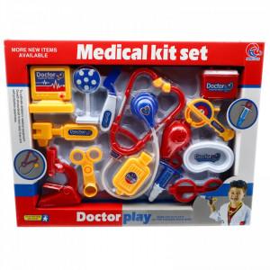 Jucarie de Rol, Trusa Medicala, Stetoscop, seringa, 14 piese, Rosu