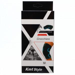 Orteza elastica pentru genunchi, prevazuta cu banda superioara cu arici, ofera confort si siguranta, marime M, Negru