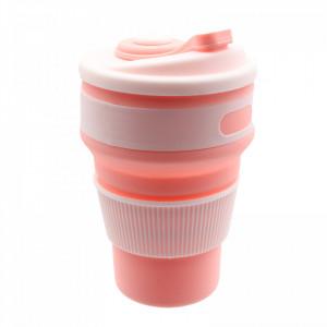 Pahar din silicon, pliabil, cu capac si protectie bauturi fierbinti, 350 ml, Roz