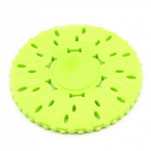 Placa de aruncat pentru caine, din silicon, rotund, Verde