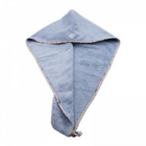 Prosop pentru uscat parul, cu un nasture pentru fixare, pentru adulti, model floral, 65 x 26 cm, Albastru