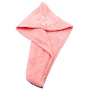 Prosop pentru uscat parul, dublu material, cu un nasture pentru fixare, pentru adulti, 65 x 26 cm, Roz