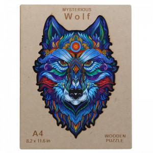 Puzzle lup din lemn, Multicolor, 21 x 30 cm, 153 piese