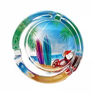 Scrumiera din sticla, model cu ochelari si nuca de cocos, 8.5 x 3.5 cm, Multicolor