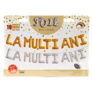 """Set 10 baloane folie, mesaj """" La Multi Ani """", Argintii, 40 cm"""