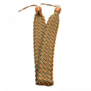 Set 2 buc, Accesorii strangere perdea si draperie, model cordon plat, 105 x 5.5 cm, Verde cu galben deschis