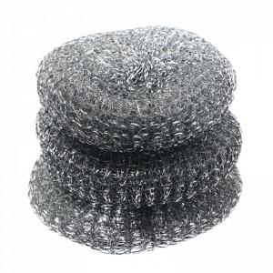 Set 3 buc, Burete de sarma pentru spalat vase, inox, 10 cm