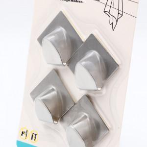 Set 4 bucati, cuier din inox, model romb, 4.5 x 4.8 cm