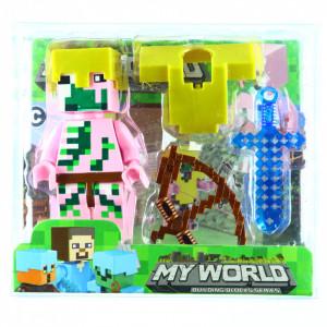 Set 4 piese, Figurina si accesorii, Tip Minecraft, Roz