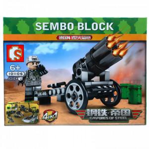 Set de constructie, Eroii Armatei si lansatorul de rachete, Sembo, 104 piese