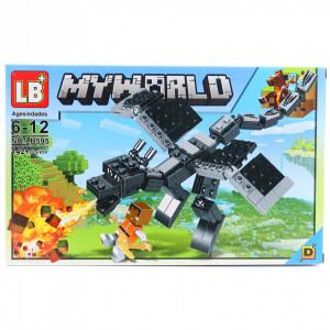 Set de constructie Lego, Marele dragon negru tip Minecraft, 142 Piese