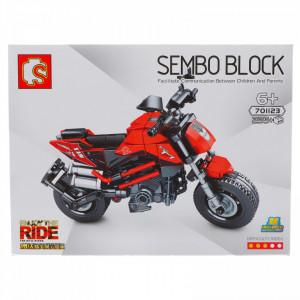 Set de constructie, Motocicleta, Rosu, 235 piese