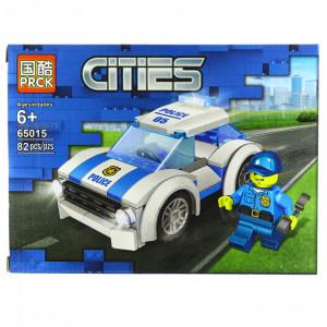Set de constructie, tip City Police,Masina de politie, 82 piese