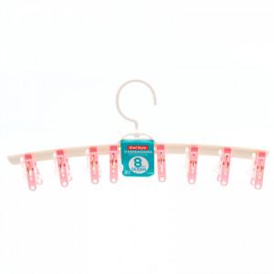 Uscator de rufe cu 8 carlige, tip umeras, 37.5 cm, Roz