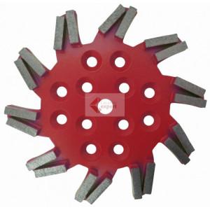 Disc stea cu segmenti diamantati pt. slefuire pardoseli - segment fin - Rosu - 250 mm - prindere 19mm - DXDH.8501.250.11.63
