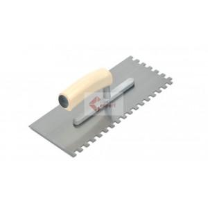 Gletiera dintata (8x8mm) din otel cu maner de lemn - Rubi