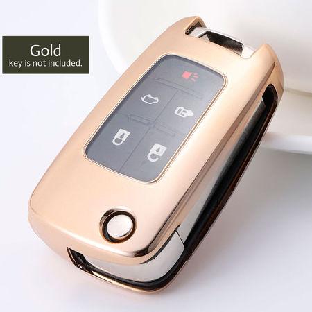 Husa Cheie Auto OPEL TPU+PC Gold Cheie Briceag (Insignia, Astra J)