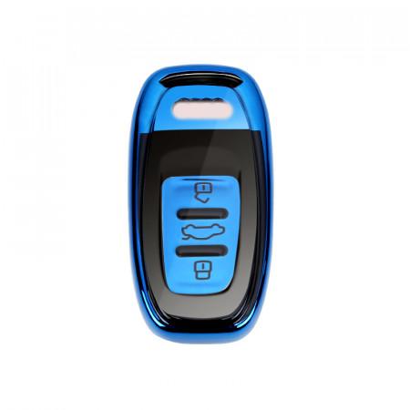 Husa Cheie Smartkey Audi 3 Butoane Albastru+Negru TPU+PC Audi A6 A7 A8 4G