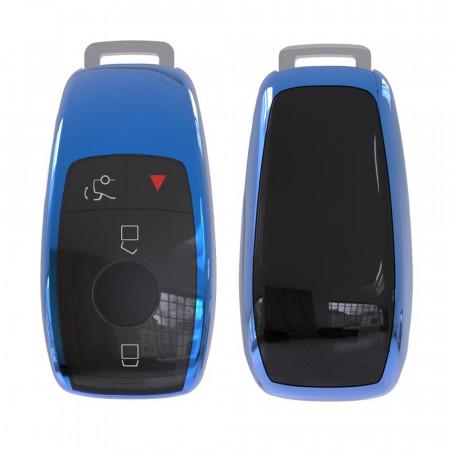 Husa Cheie Smartkey Mercedes Benz 3 Butoane Albastra TPU+PC Model Nou