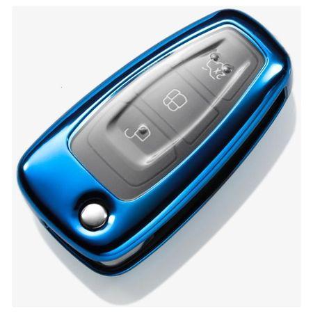 Husa Cheie Auto FORD TPU+PC Albastra Cheie Briceag (Ford Focus, Fiesta,Transit)