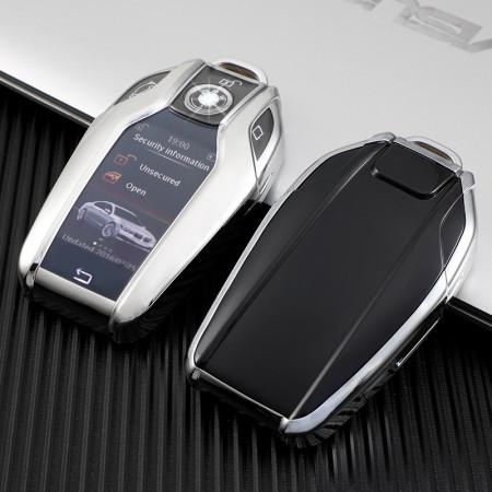Husa Cheie Inteligenta BMW cu display TPU Gri ( BMW SERIA 7, X5,X6 )