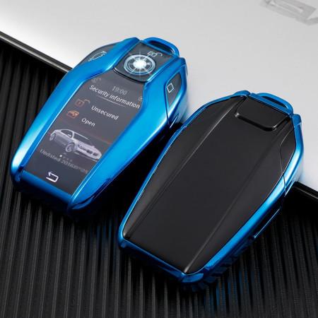 Husa Cheie Inteligenta BMW cu display TPU ALBASTRA ( BMW SERIA 7, X5,X6 )