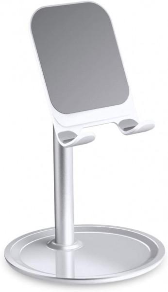 Suport birou din aluminiu pentru telefoane - Alb/Silver