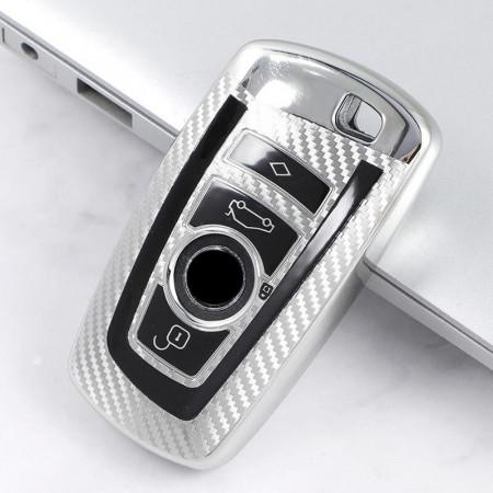 Husa Cheie Smartkey BMW 3/4 Butoane Silver TPU+PC BMW Seria F CARBON