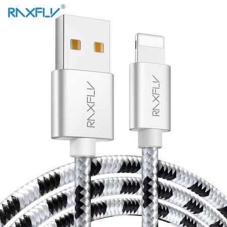 Cablu USB Iphone Lightning 2M Textil Gri-Negru