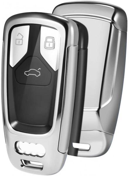 Husa Cheie Audi A4 SmartKey TPU+PC Silver