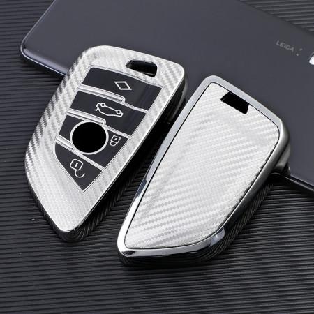 Husa Cheie Smartkey BMW 3/4 Butoane Seria G SILVER TPU+PC Carbon