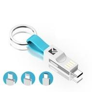 Cablu breloc pentru incarcare 3in1 Magnetic Iphone Samsung Huawei USB to 8 Pin + Micro USB + USB-C / Type-C Albastru