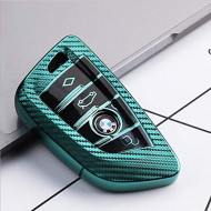 Husa Cheie Smartkey BMW 3/4 Butoane Seria G Verde TPU+PC Carbon