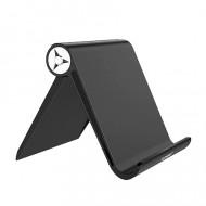 Suport birou masa pentru telefon mobil sau tableta, contine banda silicon anti alunecare, se modeleaza la unghi 0 - 100 grade, Floveme Negru