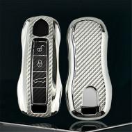 Husa Cheie Porsche Smartkey TPU+PC GRI CARBON