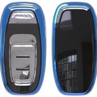 Husa Cheie Smartkey Audi 3 Butoane Albastra TPU+PC Audi A6 A7 A8 4G