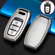 Husa Cheie Smartkey Audi 3 Butoane GRI Carbon TPU+PC Audi A6 A7 A8 4G