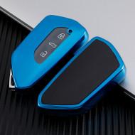 Husa Cheie Auto VW Golf 8 SmartKey TPU+PC Albastra