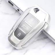 Husa Cheie Auto Peugeot SMARTKEY TPU+PC GRI