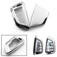 Husa Cheie Smartkey BMW 3/4 Butoane Seria G SILVER TPU+PC