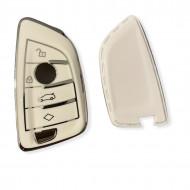 Husa Cheie Smartkey BMW 3/4 Butoane Seria G TPU+PC Alba cu Contur Crom